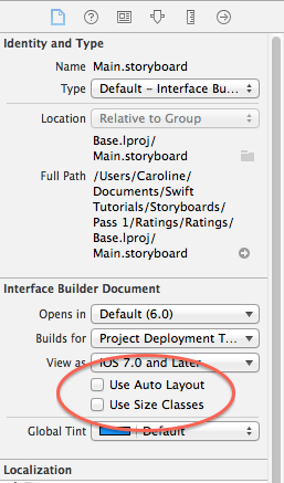 Disabling auto layout
